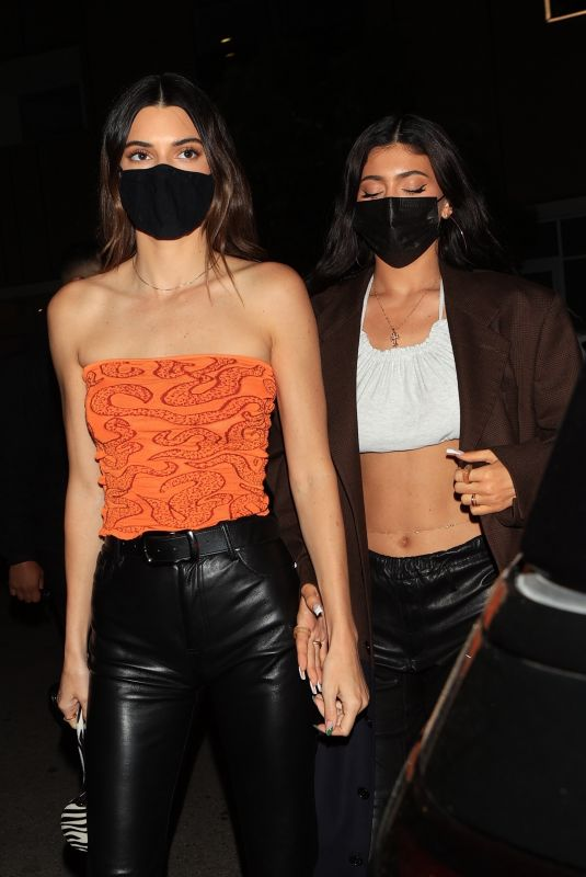 KENDALL and KYLIE JENNER at Craig's in West Hollywood 04/08/2021