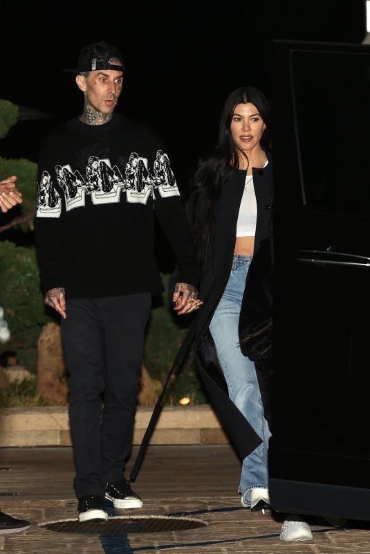 KOURTNEY KARDASHIAN and Travis Barker Leaves Nobu in Malibu 04/07/2021