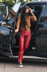 KOURTNEY KARDASHIAN in a Red Leather Pants at Nobu in Malibu 04/05/2021
