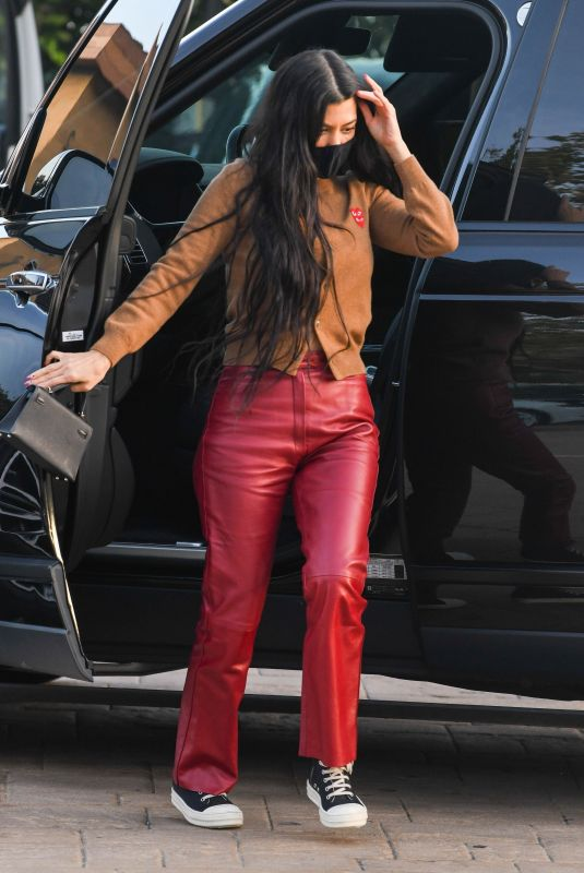 KOURTNEY KARDASHIAN in a Red Leather Pants at Nobu in Malibu 04/05/2021