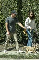 LILY COLLINS and Charlie McDowell Out with Their Dog in Los Angeles 04/10/2021