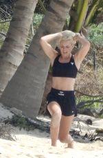 LINDSEY VONN Workout at a Beach in Tulum 04/20/2021