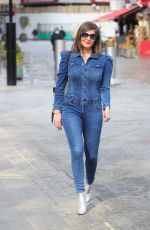 LUCY HOROBIN in Denim Jumpsuit at Heart Radio in London 04/15/2021