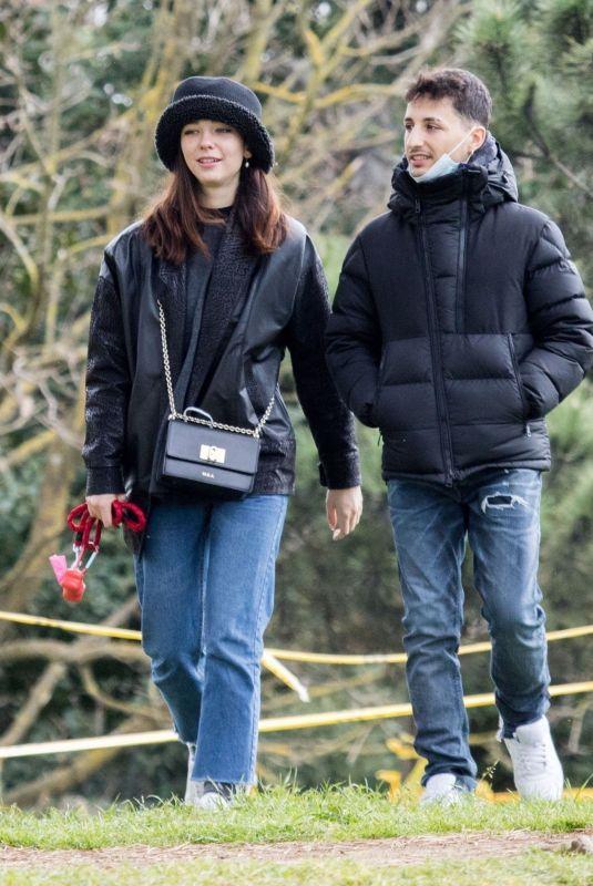 MATILDA DE ANGELIS and William Mezzanotte Kissing at a Park in Rome 04/05/2021