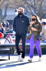 NINA AGDAL Out with Friend at Washington Square Park in New York 04/02/2021
