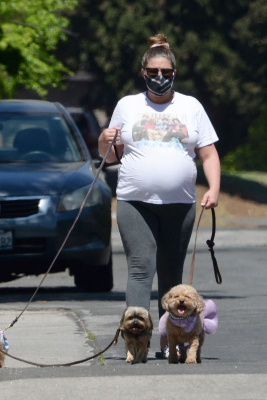 Pregnant BRITTANY CATWRIGHT Out with Her Dogs in Los Angeles 04/03/2021