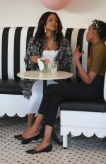 Pregnant CHRISTINA MILIAN and NICOLE WILLIAMS at Her Beignet Box Cafe Grand Opening in Studio City 04/09/2021