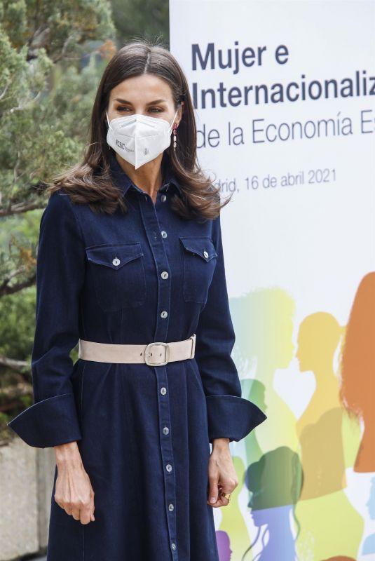 QUEEN LETIZIA OF SPAIN at Presentation of a Report on the Role of Women in the Economy in Madrid 04/16/2021