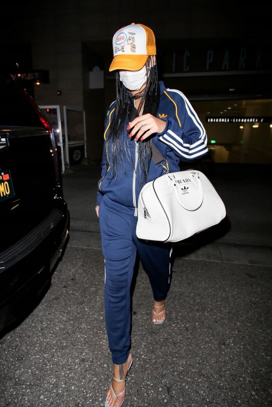 RIHANNA in Adidas Tracksuit Out in Beverly Hills 04/12/2021