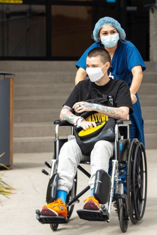 RUBY ROSE Rolled Out in a Wheelchair at UCLA Health Marina del Rey Cancer Center 04/01/2021