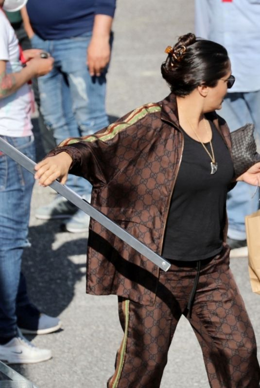 SALMA HAYEK on the Set of House of Gucci in Rome 04/01/2021