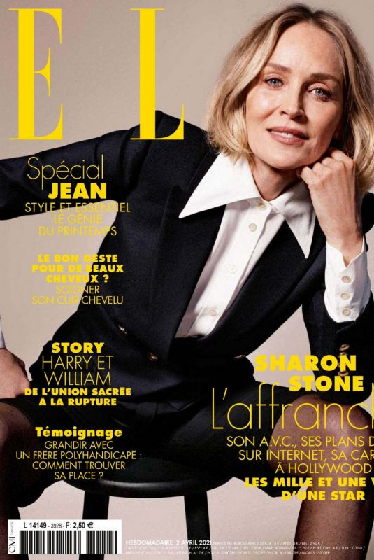 SHARON STONE in Elle Magazine, France April 2021
