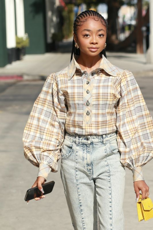SKAI JACKSON Out on Melrose Street in West Hollywood 04/15/2021