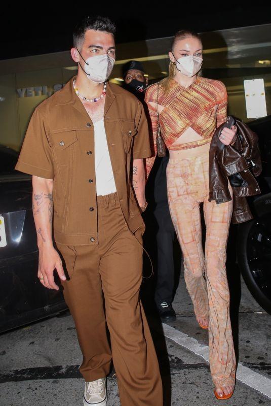 SOPHIE TURNER and Joe Jonas at Craig's Restaurant in West Hollywood 04/24/2021