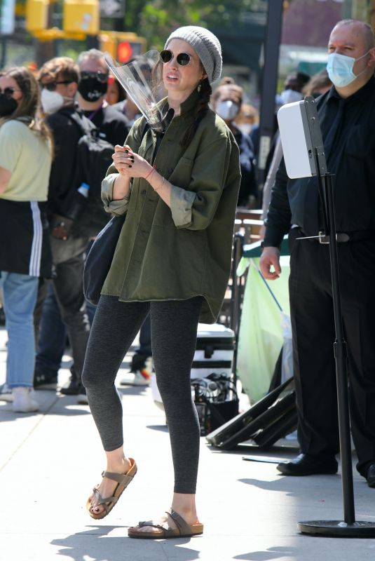 ANNE HATHAWAY on the Set of WeCrashed in New York 05/25/2021
