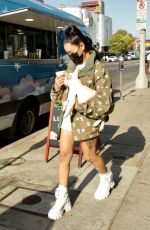 BELLA POARCH Out with Her Dog on Melrose Avenue in West Hollywood 05/02/2021