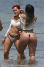 BELLA THORNE in Bikinis at a Photoshoot on the Beach in Miami 05/07/2021