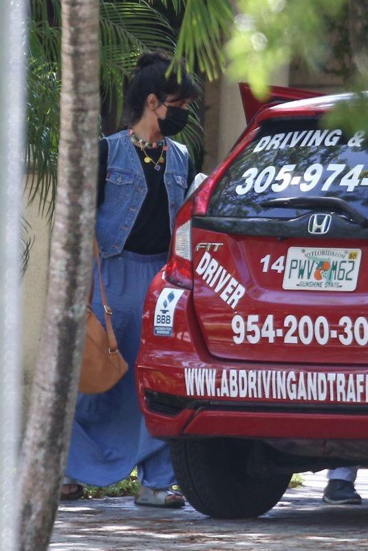 CAMILA CABELLO Ttaking Driving Lessons in Miami 04/30/2021