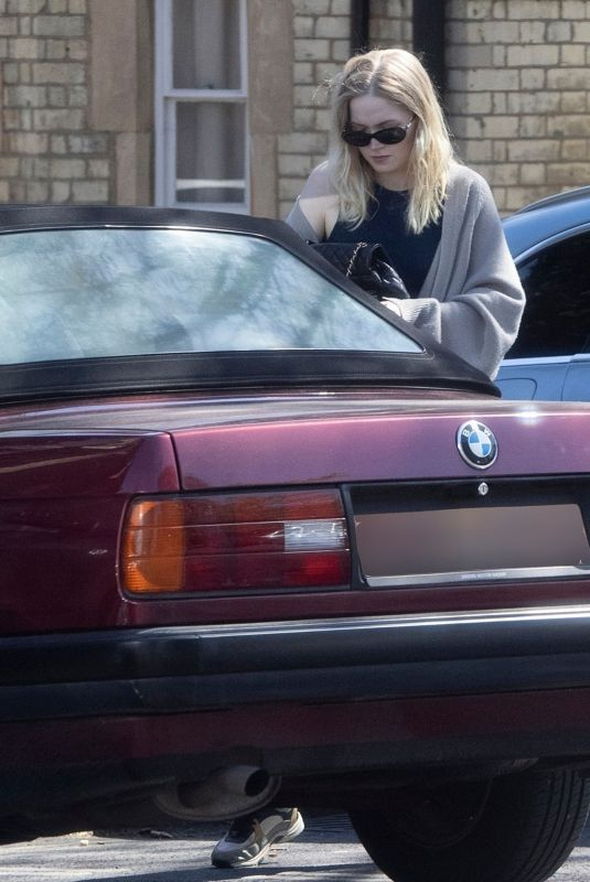 ELLIE BAMBER Out Driving Her 1980's Classic BMW 3 Series Convertible in London 04/23/2021