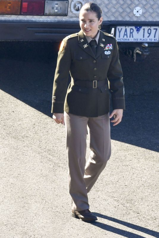 ELSA PATAKY in a Military Uniform on the Set of Interceptor in Sydney 05/13/2021