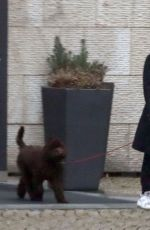 GILLIAN ANDERSON with Her Dog at a Hotel in Prague 03/03/2021