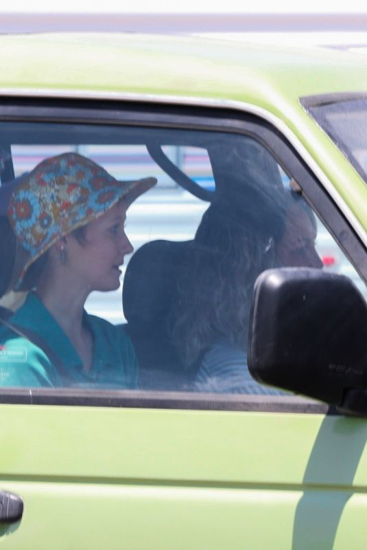 GRACE VANDERWAAL Out Shooting a Driving Scene in Santa Monica 05/15/2021