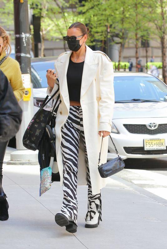 IRINA SHAYK in Zebra-print Pants Out in New York 05/11/2021
