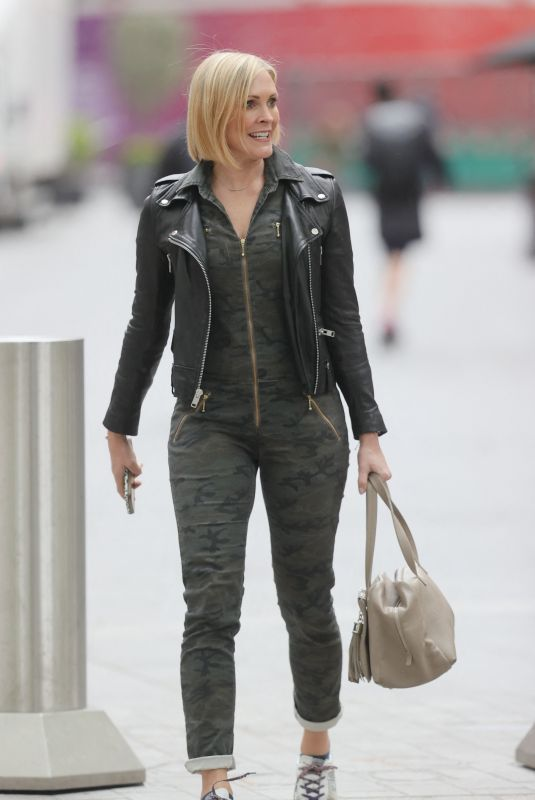JENNI FALCONER in a Camouflage Jumpsuit at Smooth Radio in London 05/21/2021
