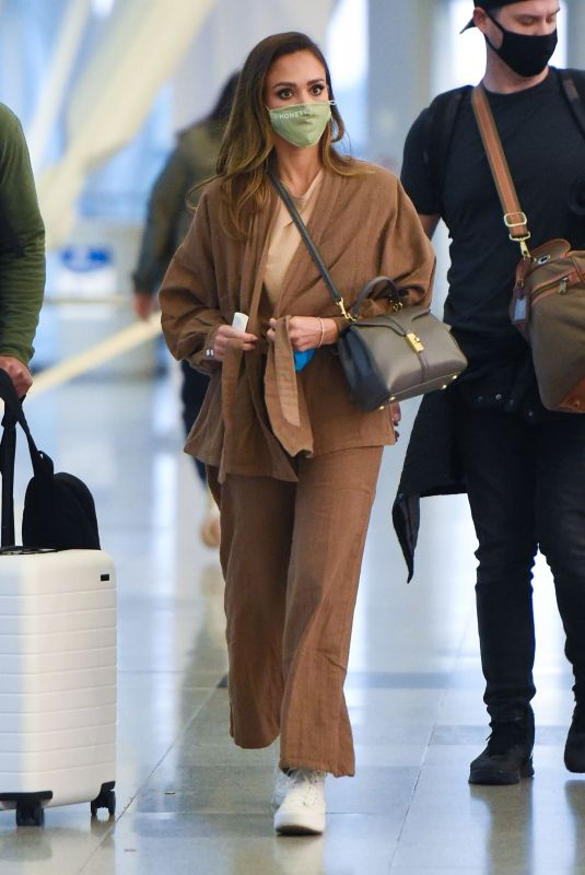 JESSICA ALBA Arrives at JFK Airport in New York 05/06/2021