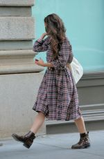 KATIE HOLMES in a Plaid Dress and Boots Out in New York 05/25/2021