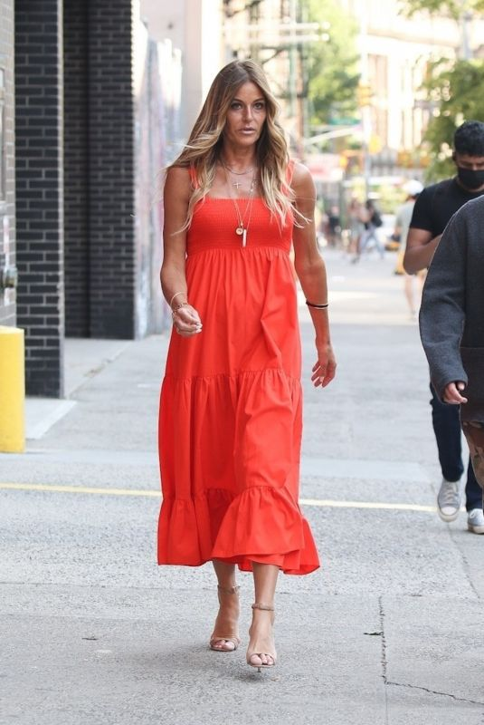 KELLY BENSIMON in a Orange Dress Out in New York 05/20/2021