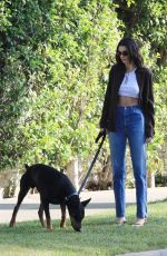 KENDALL JENNER Out with Her Doberman Pinscher in Beverly Hills 05/07/2021