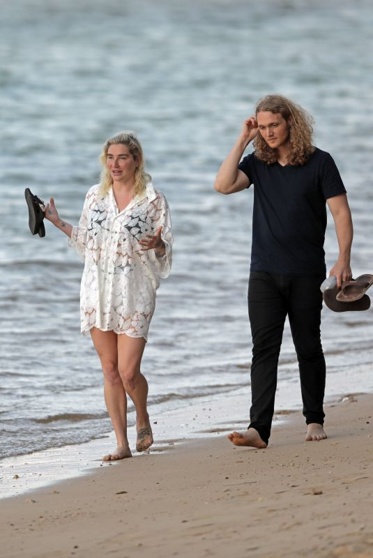 KESHA and Brad Ashenfelter Out at a Beach in Hawaii 05/13/2021