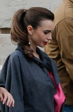 LILY COLLINS Arrives on the set of Emily in Paris in Paris 05/21/2021