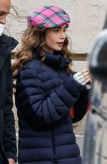 LILY COLLINS on the Set of Emily in Paris 05/20/2021