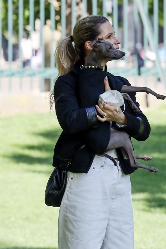 MICHELLE HUNZIKER Out with Her Dog at a Park in Milan 05/07/2021
