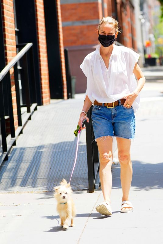 NAOMI WATTS in Denim Horts Out with Her Dog in New York 05/22/2021