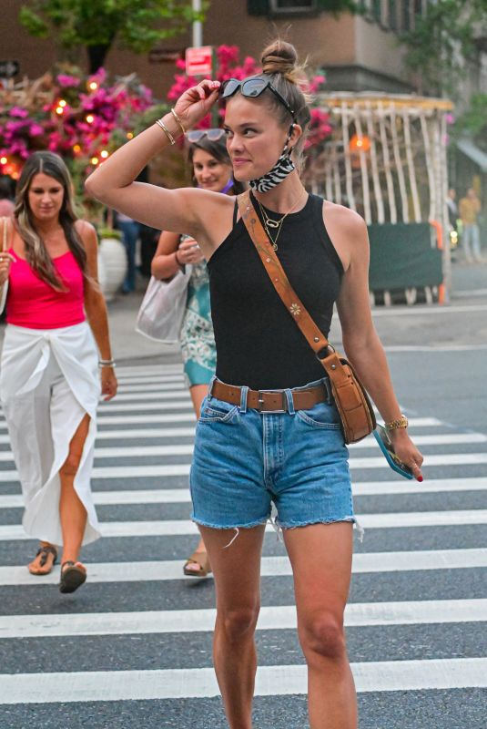 NINA AGDAL in Denim Shorts Out in New York 05/27/2021