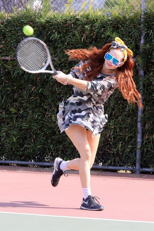 PHOEBE PRICE Out Playing Tennis in Los Angeles 05/05/2021