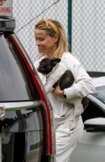 REESE WITHERSPOON Out with Her Dog in Los Angeles 05/10/2021