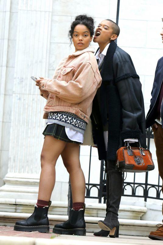WHITNEYPEAK and JORDAN ALEXANDER on the Set of Gossip Girl in New York 05/20/2021