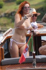 BELLA THORNE in Bikini on a Boat on Lake Como 06/24/2021