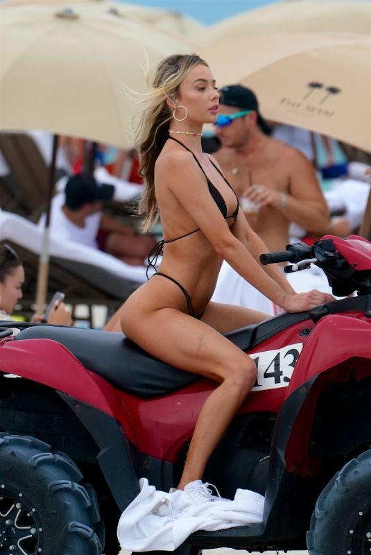 CELESTE BRIGHT in Bikini at a Beach in Miami 06/16/2021
