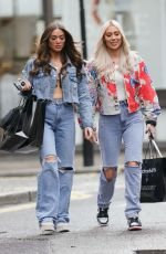 DEMI and CHLOE SIMS in Ripped Denims Leaves Boohoo Styling Event in London 06/29/2021