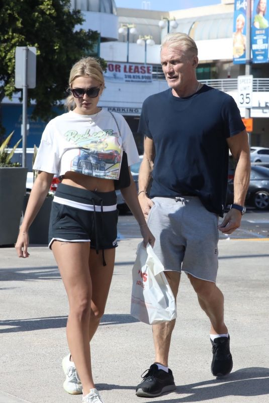 EMMA KROKDAL and Dolph Lundgren Out in Los Angeles 06/21/2021