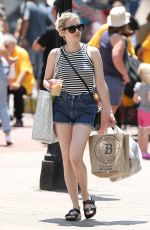 EMMA ROBERTS in Denim Shorts Out in Boston 06/20/2021