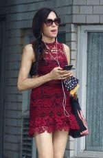 FAMKE JANSSEN in a Red Dress Out in New York 06/07/2021
