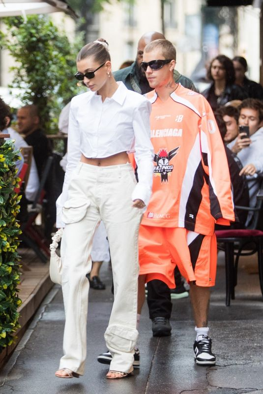 HAILEY and Justin BIEBER at DInand Restaurant in Paris 06/20/2021