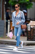 IRINA SHAYK in Ripped Denim Out in New York 06/14/2021
