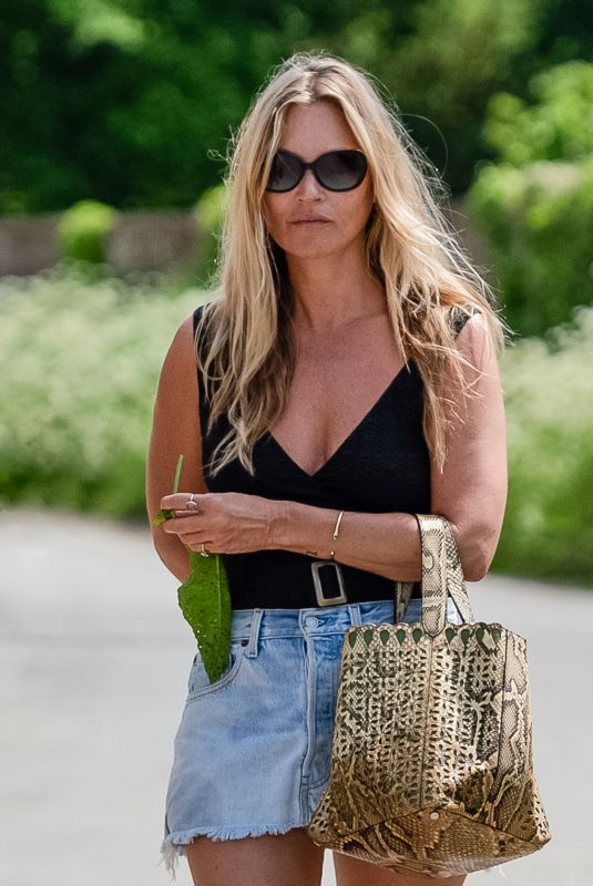 KATE MOSS in Denim Skirt Out in Gloucester 06/01/2021